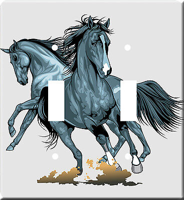 Horses Metal Switch Light Double Cover plate #1