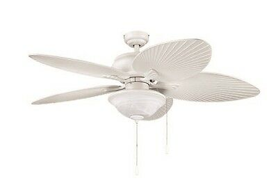 """52"""" White with Wicker Style Blades Indoor/Outdoor Ceiling Fan with Light Kit"""