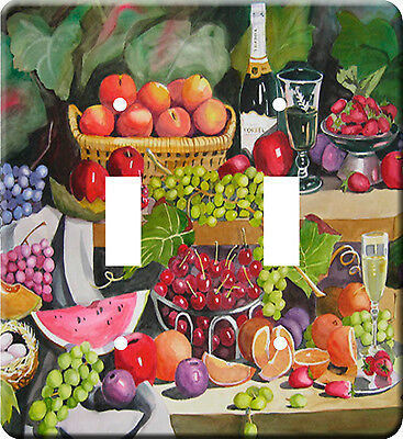 Fruit Painting Metal Switch Light Double Cover plate #2