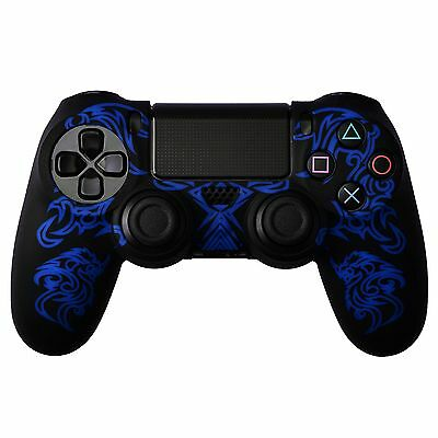 Dragon Pattern Silicon Protect Case Skin for PS4 Controller Black Blue