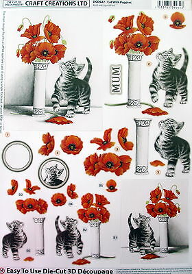 """A4 Die Cut 3D Paper Tole Decoupage """"cats With Poppies"""" Sheet No Cutting Dcd622"""