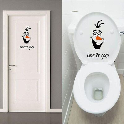 1PC Olaf Frozen Disney Let it Go Toilette Wandtattoo Badezimmer Deckel Sticker
