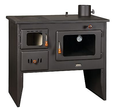 Wood Burning Cooker Cast Iron Top Oven Cooking with Boiler Solid Fuel 16 kw