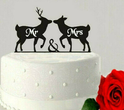 Mr & Mrs Deer Acrylic Cake Topper Wedding Engagement Party Decoration