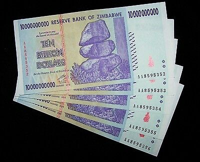5 x Zimbabwe 10 Billion Dollar banknotes-paper money currency-About UNC