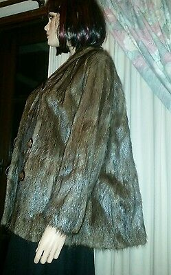 Vintage Genuine Gatsby Brown Musquash Fur Stroller Swing Coat Jacket Sz 16 1950s