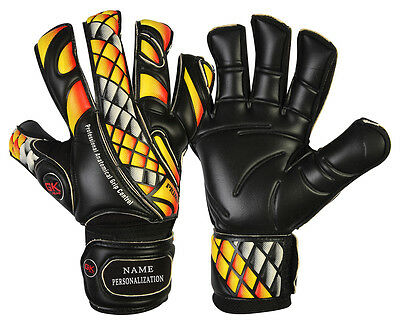 Football Goalkeeper Gloves GK Saver Prime Fire Black Finger Save Goalie Gloves