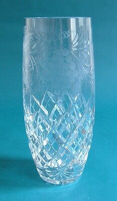 Pair of Brierley Hill Crystal 'Grapevine' Design Tall Tumblers / Beer Glasses