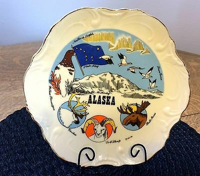 ALASKA Mount McKinley PLATE Snow Geese Bull Moose Northern Lights Souvenir