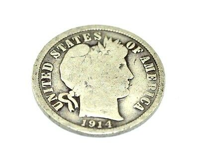 1914-D Barber One Dime Coin Silver 90%  C1804Rz