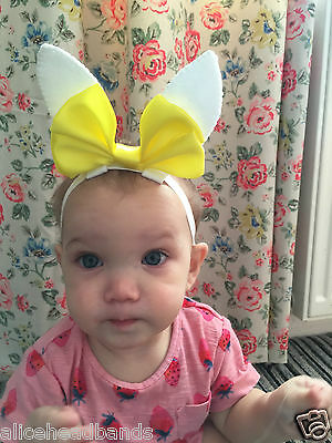 Baby Girl Headbands Rabbit Ears Easter Yellow Bow Newborn Toddler Girls Hairbows