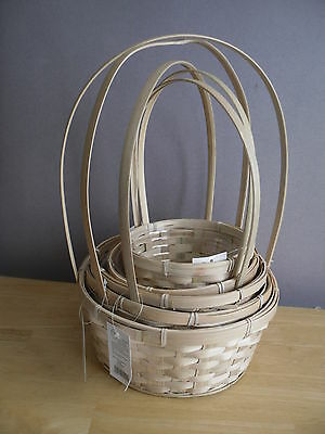 SOLD IN 2'S BAMBOO FLOWER BASKETS TALL CARRY HANDLE WICKER SINGLES 5 x SIZES