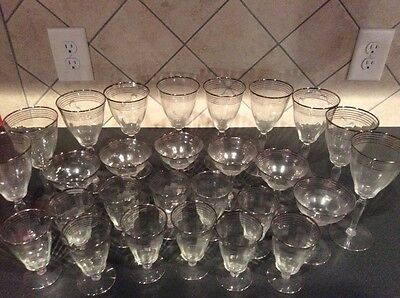 Antique Platinum Rimmed Stemware