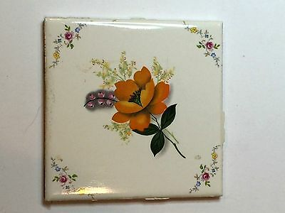 "(A-21) 1 Pc NOS Vintage Ceramic Wall Tile 4 1/4"" Country Roses Orange Flower"