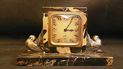 Awesome Antique Art Deco Portoro Marble Clock with Bronze dove sculptures