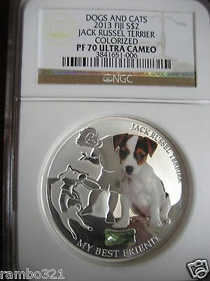 Fiji 2013 Jack Russel Terrier NGC PR70 Ultra Cameo silver coin 1 troy oz bullion