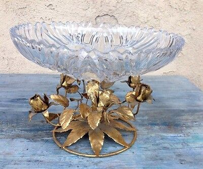 Hollywood Regency Original Italy Toleware Centerpiece Bowl  Gold & Crystal