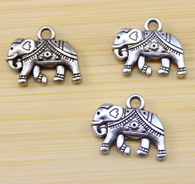 15/30/100 pcs Very lucky silver elephant charm pendant 21x17 mm