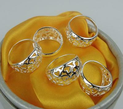 NEW 5pcs LF 925 silver Plated Multi-Heart Rings 6-8