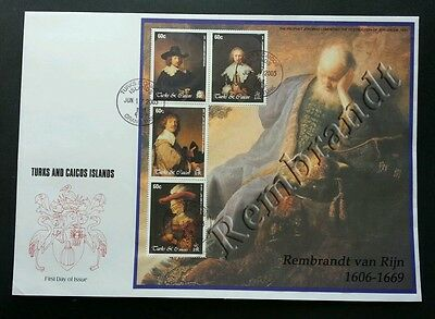 Turks And Caicos Islands Famous Painters 2003 Arts Painting (sheetlet FDC) *rare