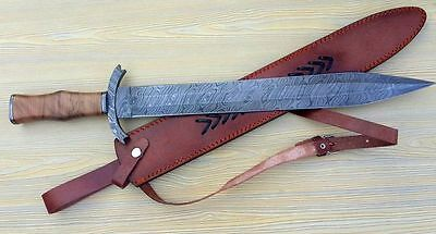 Damascus STEEL MIDDLE AGES SHORT Sword ,Custom Handmade DAMASCUS HILT,OLIVE WOOD