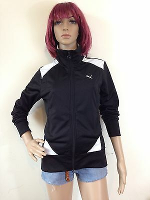 Vintage 90s Puma Track Top Zip Tracksuit Sweater Size 10 12 Black White Sports