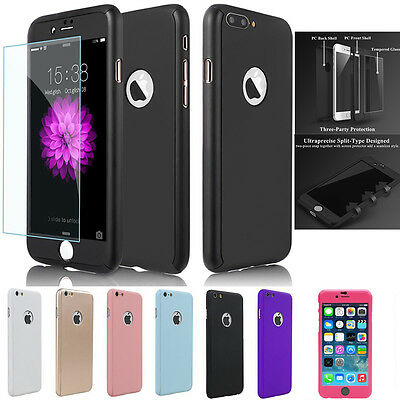 iPhone 7 7 Plus 6 6S 360 Full Hybrid Hard Case Cover + tempered Glass for Apple