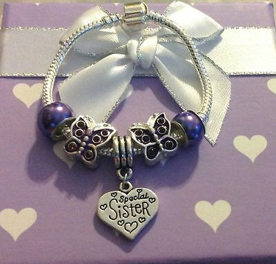 Personalised baby childrens girls purple butterfly charm bracelet in gift box