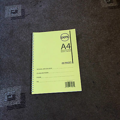 School Attendance Register, Mark Book 50 Names A4 Size 112 Weeks per Book Yellow