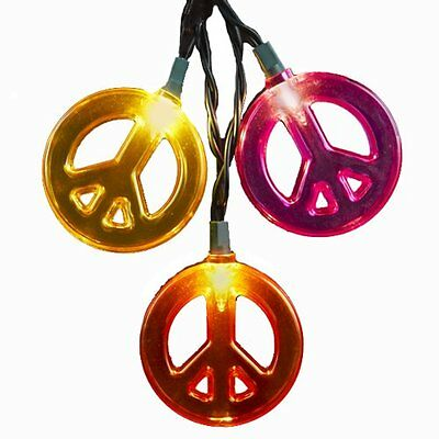 Kurt Adler 10-Light Multicolored Peace Sign Light Set, New, Free Shipping