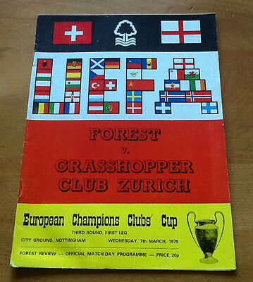 Notts Forest V Grasshoppers7/3/1979 European Cup