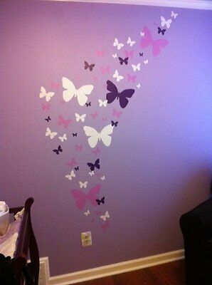 Butterfly Wall Decals- Lavendar, Lilac & White Matte Finish Appliques' For Girls