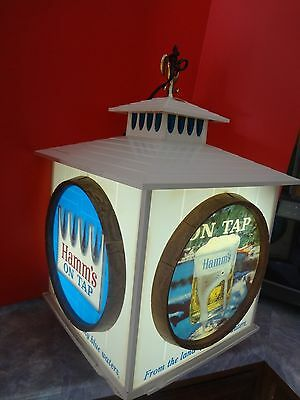 Hamm's Beer 4 Sided Rotating Motion Cube Sign Clock Water Skiing Acrobats Rare