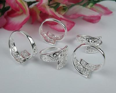 NICE !! Wholesale 5pcs LF 925 silver Plated Hollow Pattern Rings 6-8