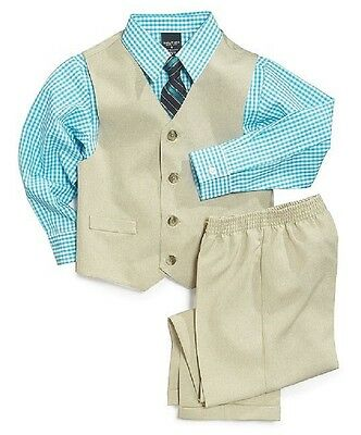 Nautica Vest, Long Sleeve Blue Checked Shirt, Tie and Suiting Pants