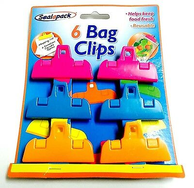 Pack Of 6 Colourful Bag Clips Helps Keep Food Fresh, Food Clips. Reusable