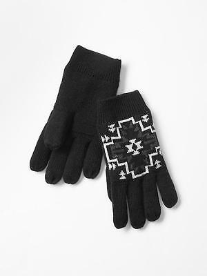 NWT Kid GAP Soft Knit Lined Graphic Printed Gloves Aztec Design True Black NEW L