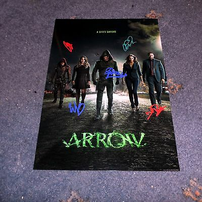 "Arrow Castx5 Pp Signed 12""x8"" Poster Stephen Amell Willa Holland Colton Haynes"