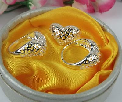 Wholesale 5pcs LF 925 silver Plated Love Heart Rings 6-8