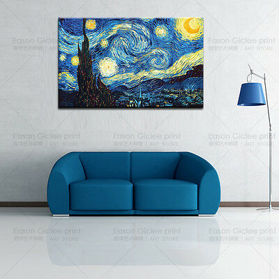 Starry Night by Vincent Van Gogh Giclee Fine Art Print on Canvas for Home Decor