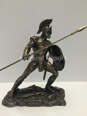 Achilles unleashed greek hero in the Trojan war figure bronze finish collectible