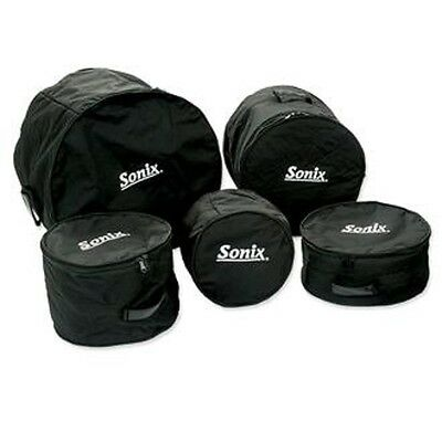 "Set of 5 SONIX Medium Weight Soft Bags/Cases for ""ROCK"" Size Drums 008-100-423"