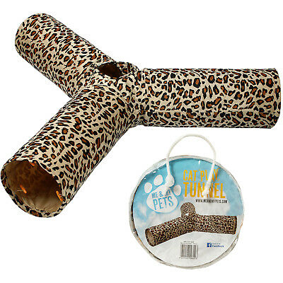 Me & My 3 Way Leopard Print Cat/kitten Crinkly Pop Up Play Tunnel Puppy/rabbit