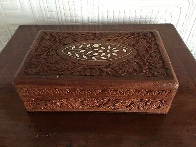 Beautiful Carved Inlaid Wooden Storage Box