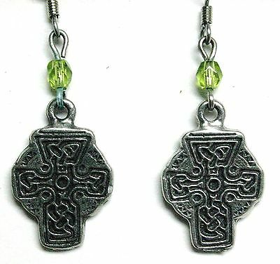 Celtic Pewter Earrings - Cross with Celtic design and lime green glass bead
