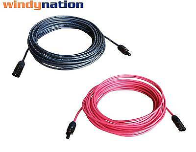 1 Pair Black + Red Solar Panel Extension Cable Wire MC4 Connector 10 or 12 AWG