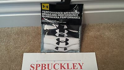 "Under Armour 1/2"" OVERSIZED Wristbands 1218016-001 WHITE / BLACK , NEW"