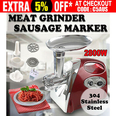 2800W Electric Meat Grinder Filler Commercial Mincer Stuffer Kibbe Sausage Maker