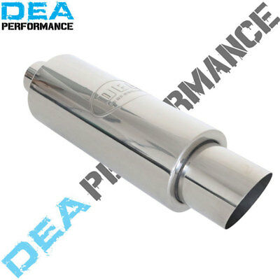 """Dea Stainless Steel Sports Cannon Muffler 2.25"""" Inch Inlet With 4"""" Tip"""