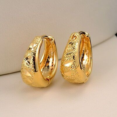 Women's Carved Hoops Earrings 18k Yellow Gold Filled 14MM Fashion Jewelry Gift